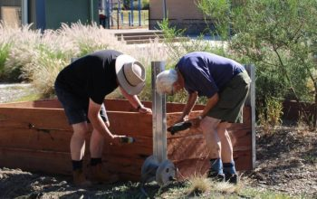 Ian and Brian at latrobe Secondary college garden box day